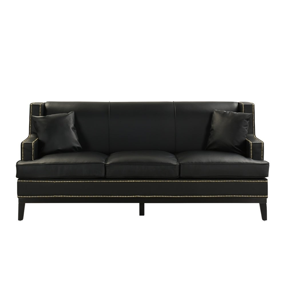 Modern Soft Bonded Leather Sofa with Nailhead Trim Details