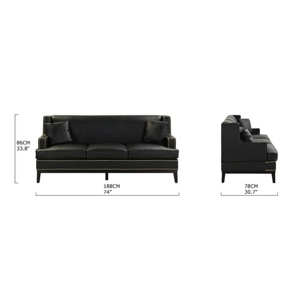 Amazing Shop Modern Soft Bonded Leather Sofa With Nailhead Trim Pabps2019 Chair Design Images Pabps2019Com