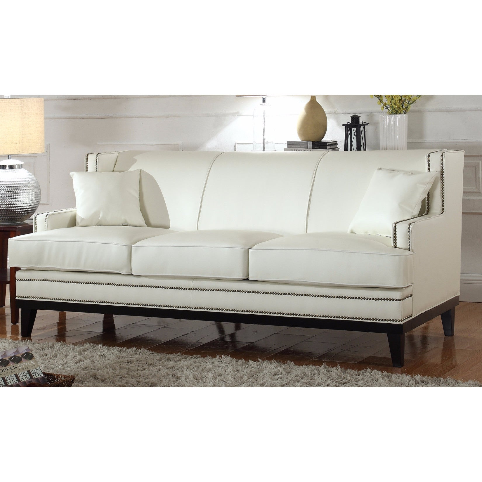 Modern Soft Bonded Leather Sofa With Nailhead Trim Details (Option: White)