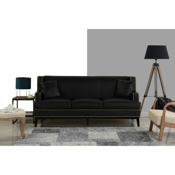Shop Modern Soft Bonded Leather Sofa with Nailhead Trim Details ...