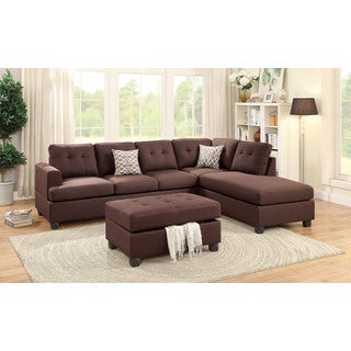 Ijevan Sectional Sofa Upholstered in Chocolate Polyfiber