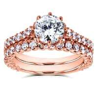 Annello by Kobelli 14k Rose Gold 2 1/10ct TDW Round Brilliant Diamond 8-Prong Center Standing Halo Bridal Set (H-I, I1-I2)