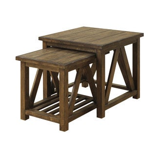 Solid Pine 2 PC Nesting Table Set