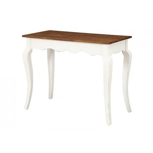 Emerald Home Two Tone Bright White Rustic Top Sofa Table