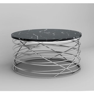 Black Marble Top With Stainless Steel Wrap Base Cocktail Table