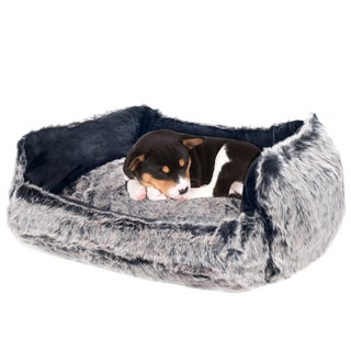 PETMAKER Faux Fur Wolf Dog Bed