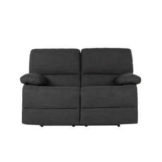 Traditional Dark Grey Fabric Oversize Recliner Loveseat