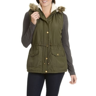 Ashley Women's Faux Fur Trim Hooded Outerwear Vest