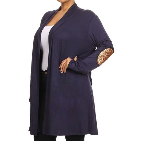 MOA Collection Women's Plus-size Multicolor Rayon and Spandex Cardigan