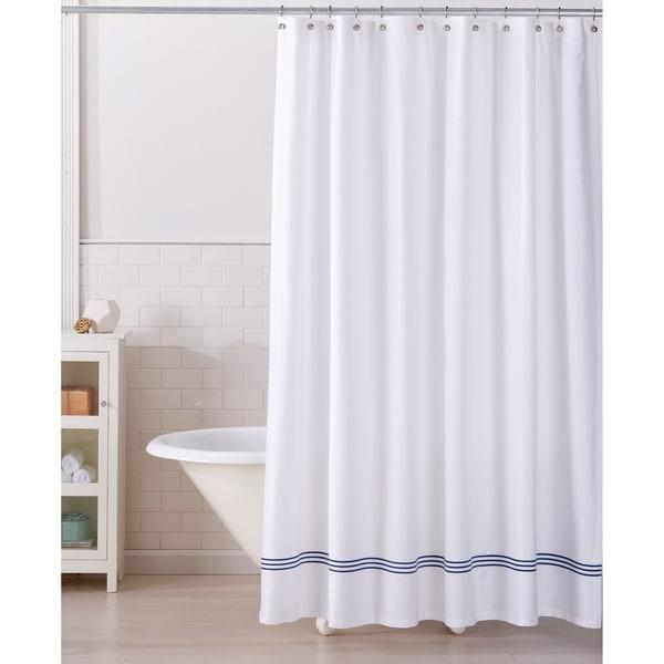 Aurora Collection Embroidered Hem Heavyweight Cotton Shower Curtain