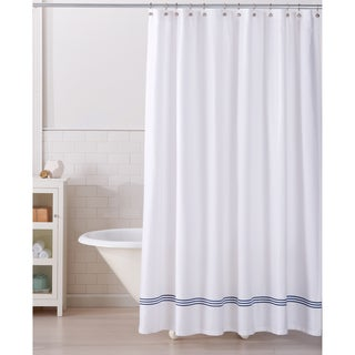 Aurora Collection Embroidered Hem Heavyweight Cotton Shower Curtain
