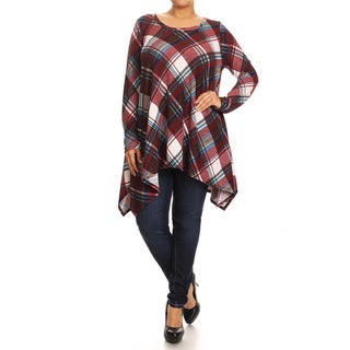 MOA Collection Women's Jersey Knit Plus-size Plaid Top