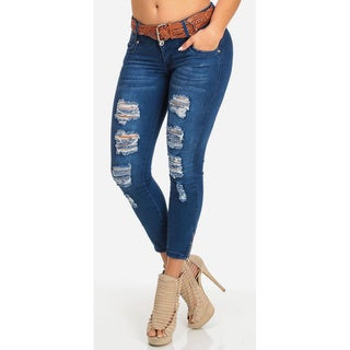 Juniors' Low-rise Ankle Jeans with Belt