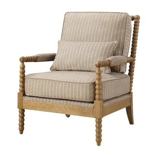 Serendipity Vibe Linen Twist Frame Acent Chair With Kidney Pillow