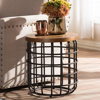 Baxton Studio Heli Rustic Industrial Distressed Wood Accent Table