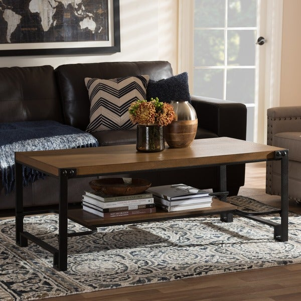 Industrial Wood Coffee Table Distressed Designs: Baxton Studio Medousa Industrial Style Antique Black