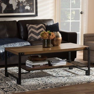 Baxton Studio Medousa Industrial Style Antique Black Finished Metal Distressed Wood Occasional Coffee and End Table