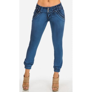 Junior's Style PLI0217 ' Blue Low-Rise Stretchy Ankle Jeans