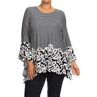 MOA Collection Plus Size Women's Navy Polyester Abstract Top