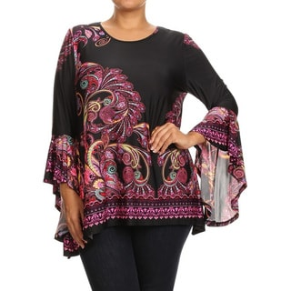 MOA Collection Women's Multicolor Polyester-blend Plus-size Abstract Paisley Top