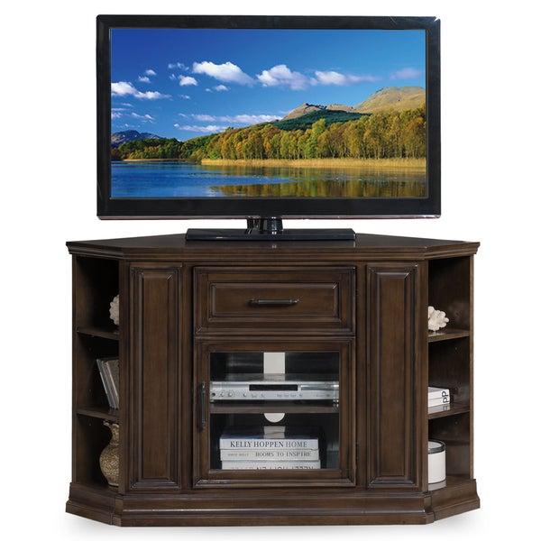 Wood and Glass Corner TV Console with Bookcase Ends