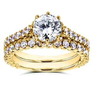 Annello by Kobelli 14k Yellow Gold 2 1/10ct TDW Round Brilliant Diamond 8-Prong Center Standing Halo Bridal Set (H-I, I1-I2)