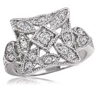 Avanti Sterling Silver Cubic Zironia Vintage Square Milgrain Ring