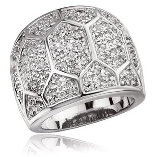 Avanti Sterling Silver Cubic Zirconia Geometric Design Pave Ring