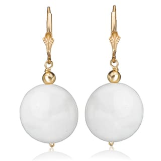 Avanti 14K Yellow Gold Filled White Agate Dangle Leverback Earrings