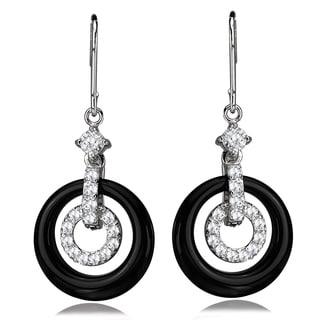 Avanti Sterling Silver Black Onyx Circle and Cubic Zirconia Dangle Earrings