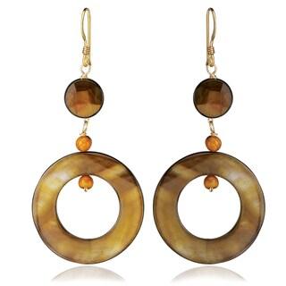 Avanti 14K Yellow Gold Filled Bronze Mother of Pearl Dangle Earrings