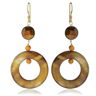 Avanti 14K Yellow Gold Filled Bronze Mother of Pearl Dangle Earrings|https://ak1.ostkcdn.com/images/products/13232656/P19948837.jpg?impolicy=medium