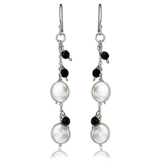 Avanti Sterling Silver Coin Pearl and Faceted Onyx Dangle Earrings
