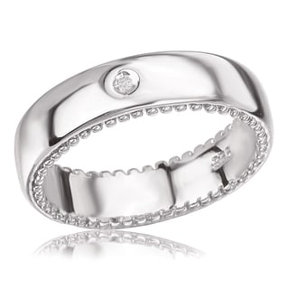 Avanti Platinum Plated Sterling Silver Round Diamond Band Ring (I-J, I1-I2)