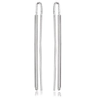 Avanti Sterling Silver Long Bar Threader Earrings