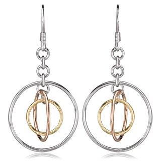 Avanti Sterling Silver Tri-Tone Circle Dangle French Hook Earrings