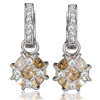 Avanti Sterling Silver Cubic Zirconia Hoop with Champagne Cubic Zirconia Dangle Earrings