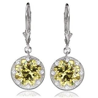 Avanti Sterling Silver Yellow Cubic Zirconia Leverback Dangle Earrings
