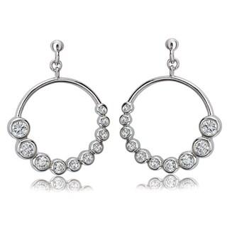 Avanti Sterling Silver Cubic Zirconia Journey Style Circular Dangle Earrings