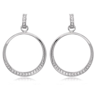 Avanti Sterling Silver Cubic Zirconia Tapered Circle Dangle Earrings