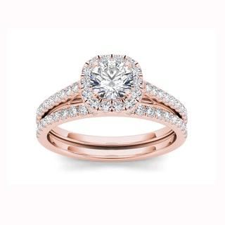 De Couer 14k Rose Gold 1 1/4ct TDW Diamond Criss-Cross Shank Bridal Ring