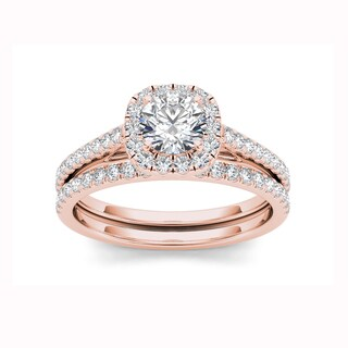 De Couer 14k Rose Gold 1 1/4ct TDW Diamond Criss-Cross Shank Bridal Ring - Pink