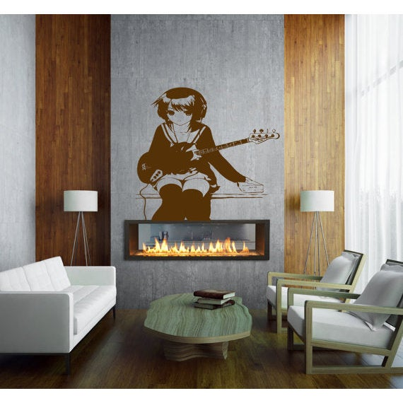 Anime decal, Anime stickers, Anime Vinyl, Girl with a guitar, music Sticker Decal size 22x26 Color Black