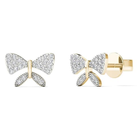 AALILLY 10k Yellow Gold 1/10ct TDW Diamond Butterfly Stud Earrings (H-I, I1-I2