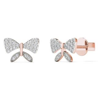 AALILLY 10k Rose Gold Diamond Accent Tiny Bow Earrings