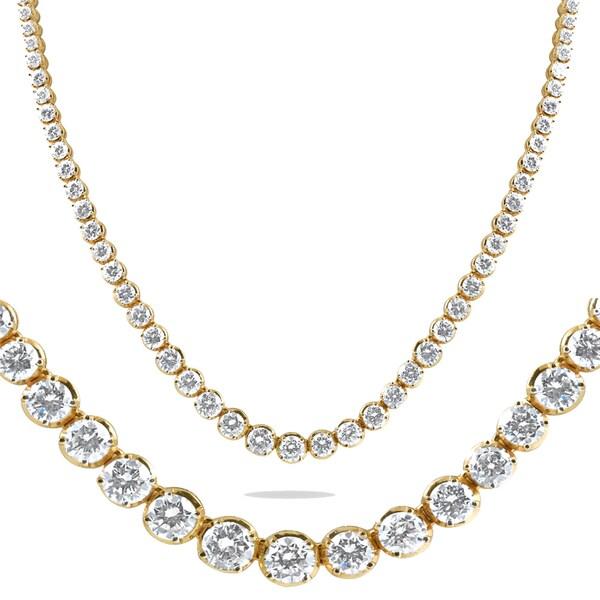 49ecebf746bce4 18K Yellow Gold 16 ct TDW Graduated Diamond Tennis Necklace 17