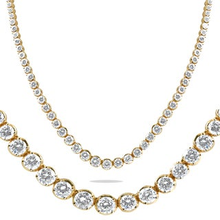 """18K Yellow Gold 16 ct TDW Graduated Diamond Tennis Necklace 17"""" Double Lock Clasp (G/H, VS2-SI1)"""