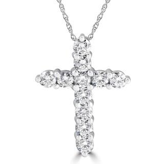 14k White Gold 3 ct TDW Diamond Cross Pendant
