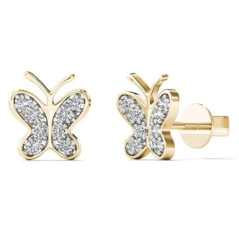 AALILLY 10k Yellow Gold Diamond Accent Butterfly Tiny Stud Earrings