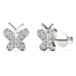 AALILLY 10k White Gold Diamond Accent Butterfly Tiny Stud Earrings
